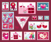 Festive The Valentine's Stamps — Cтоковый вектор