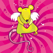 Angel cupid rat card. 2 — Stock Vector