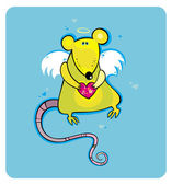 Angel cupid rat card. 1 — Stock Vector