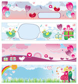 Set of Valentine's day banners 3 — Stock Vector