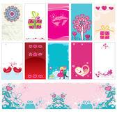Valentine karty šablony — Stock vektor