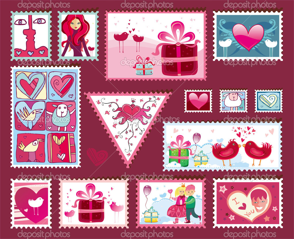 Design elements for envelope. Valentine's day concept. Vector images scale to any size. — Stock Vector #1613242