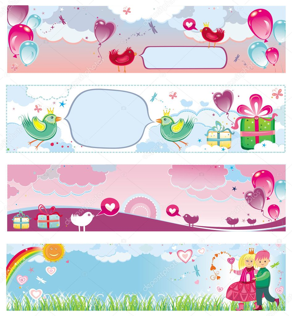 Valentine`s day cards and banner templates  with space for your text — Stock Vector #1613316