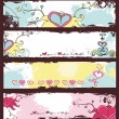 Stock Vector: Valentine's day grunge banners set