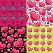 Valentine seamless backgrounds - Stok Vektör