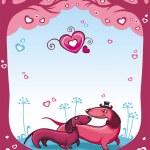Dachshunds love - Valentine — Stock Vector