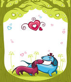 Dachshunds love - Valentine — Stock Vector