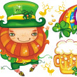 图库照片: St. Patrick Day leprechaun series 4