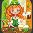Foto de Stock  : Cute girl serving  Saint Patricks Day