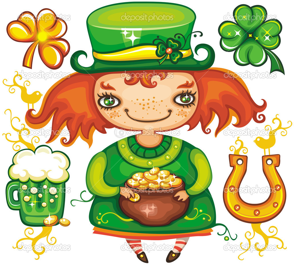 Set contains St. Patricks Day symbols: Leprechaun girl with pot of gold, four leaf clover, golden shamrock, green, beer,  horseshoe. — Stock Photo #2200923