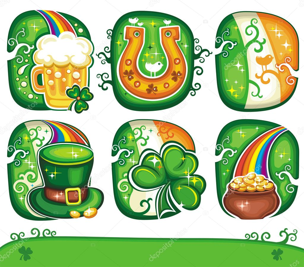 Set contains St. Patricks Day symbols: beer, Irish flag, Leprechaun top hat, balloons, pot of gold, rainbow, green beer, horseshoe, shamrock  — Stock Photo #2200972