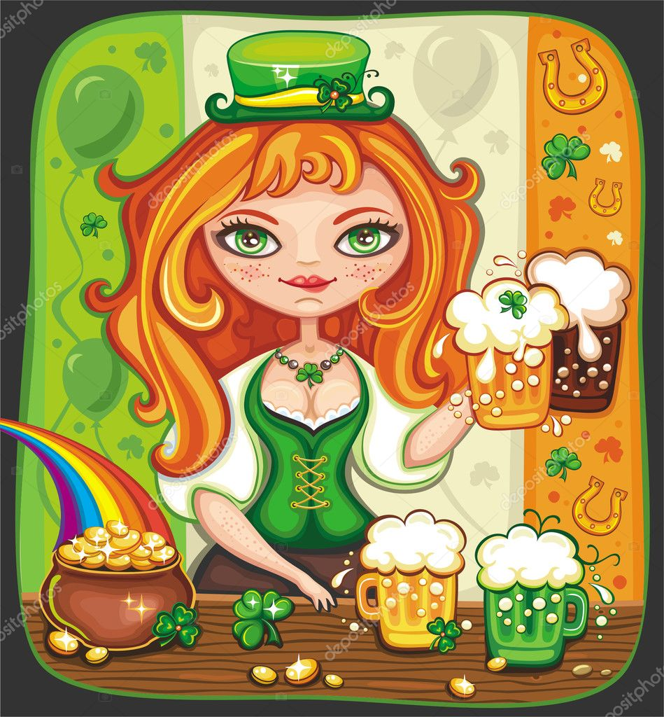 Cute girl bartender serving beer at Saint Patrick  Day party — Stock Photo #2201071