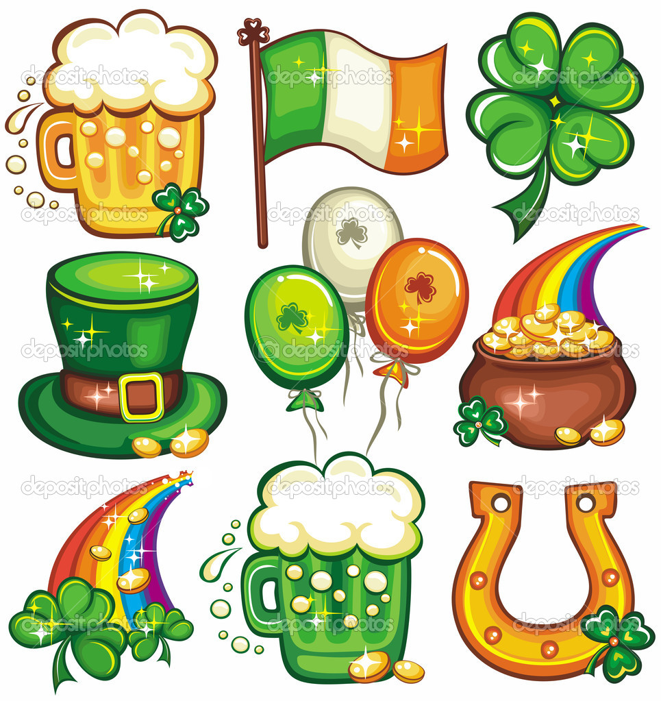 Set contains St. Patricks Day symbols: beer, Irish flag, Leprechaun top hat, balloons, pot of gold, rainbow, green beer, horseshoe, shamrock   Stock Photo #2201165