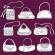 Fashion bags doodles - Stock Photo