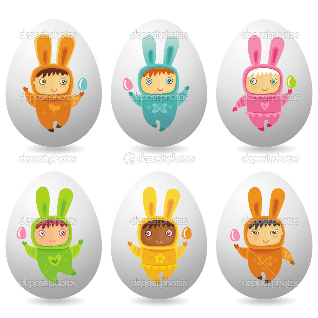 A cute little babies dressed as an Easter Bunnies with Easter eggs — Stock Photo #2448541