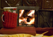 Tea At the Fire-place — Stock Photo