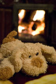 A Toy-puppy near Fireplace — Stock Photo