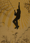 Grunge background with climber silhouette — Stock Photo