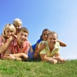 Group of four friends and kids — Stock Photo