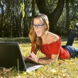Girl with laptop — Stock Photo #1217568