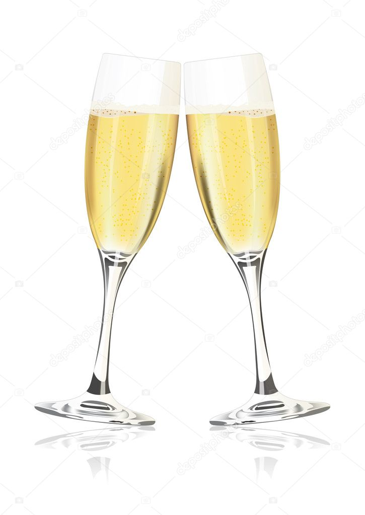 Vector champagne glasses on a white background — Stock Vector #1217923