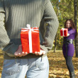Young couple gives gifts — Stockfoto #1220541