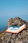 Book with glasses on vacation — Stock Photo
