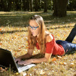 Girl with laptop — Stock Photo #1233022