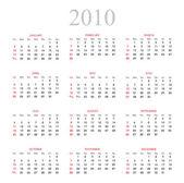 Calendário 2010 — Vetorial Stock