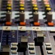 Stock Photo: Sound producer mixer. Faders of channels