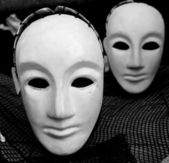 Masks of the Japanese theatre — Stock Photo