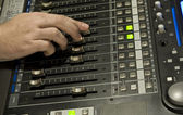 Sound producer behind work. Management o — Stock Photo