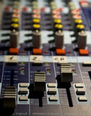 Sound producer mixer. Faders of channels — Stock Photo