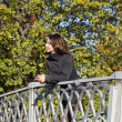 On the bridge in autumn park — Stock Photo