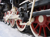 Wheels of an old steam locomotive — Stock Photo
