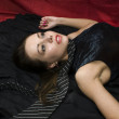 Crime scene: dead strangled woman — Stockfoto #1281353