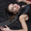 Stockfoto: Crime scene: dead strangled woman