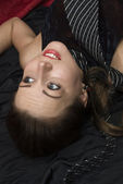 Dead strangled woman lying on the floor — Stock Photo