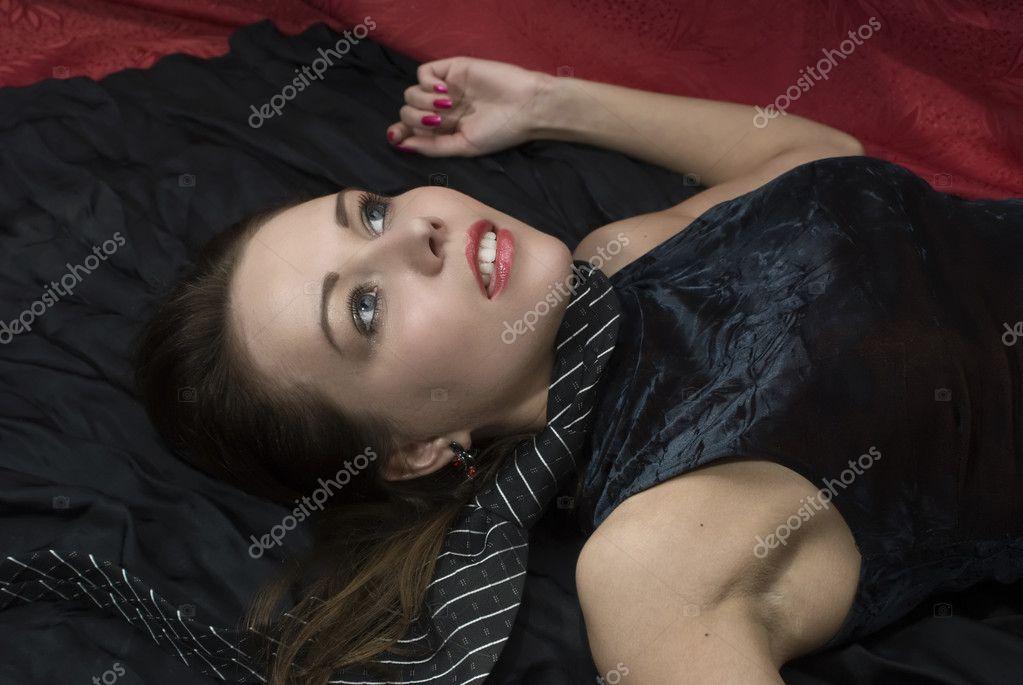 Crime scene: dead strangled woman - Stock Image