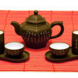 Chinese tea set on red mat — Stock Photo #1218087