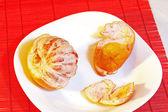 Half prepared grapefruit — Stock Photo