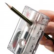 Rewind of vintage cassette with pencil — Stock Photo