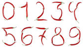 Numbers made from chili — Stock Photo