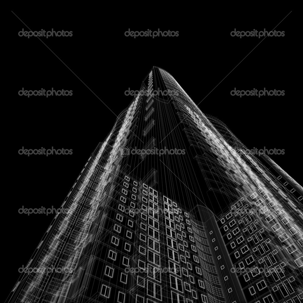 Architecture blueprint of skyscraper on black background — Stock Photo #1217443