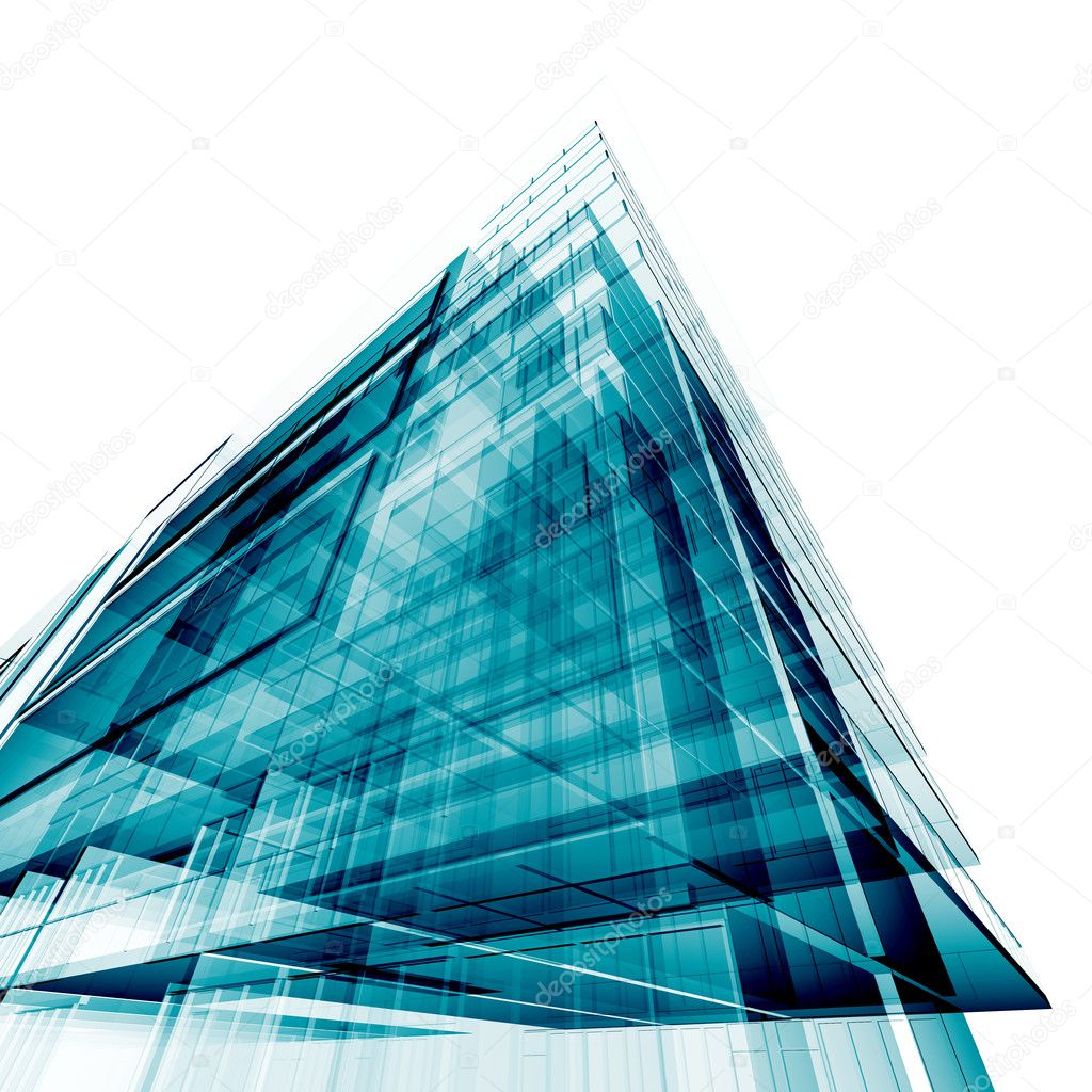 Office building. Amazing turquoise glass and reflections — Foto de Stock   #1220923