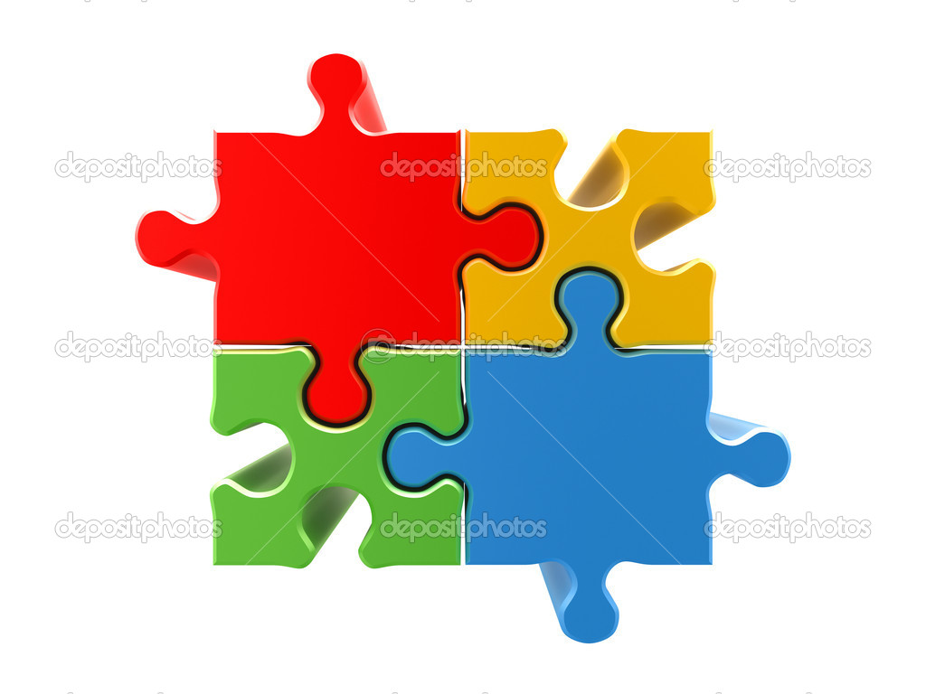 4 colors puzzle concept. High quality 3d render — Stock Photo #2098960