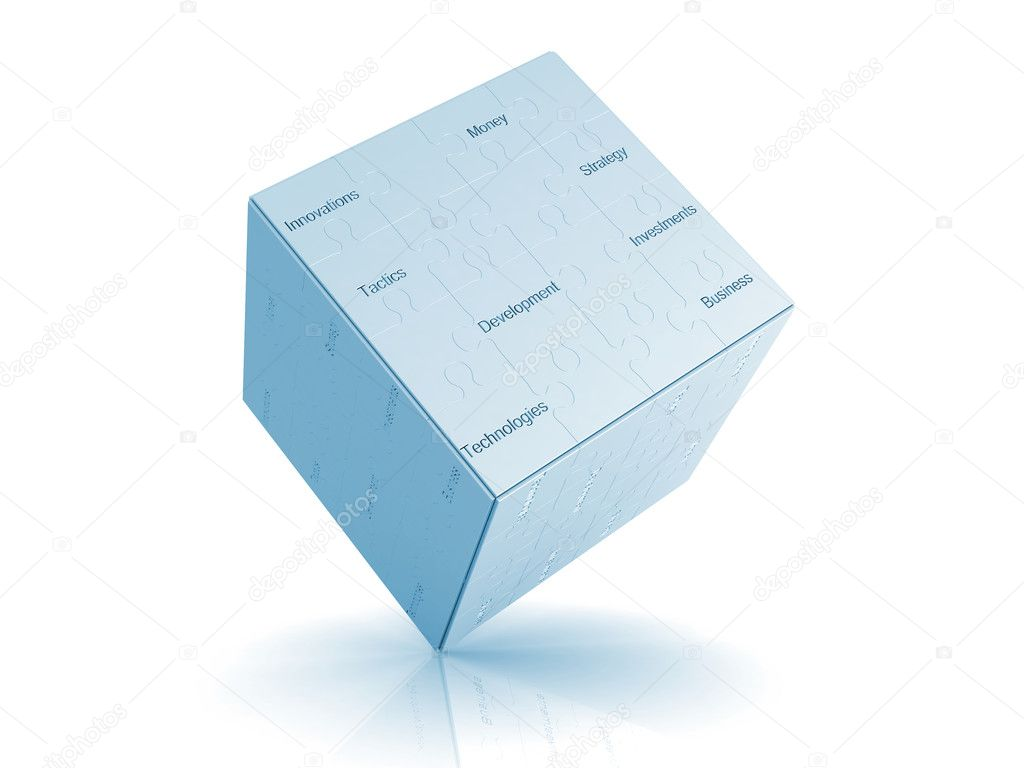 Business puzzle cube. High quality 3d render  Stock Photo #2119325