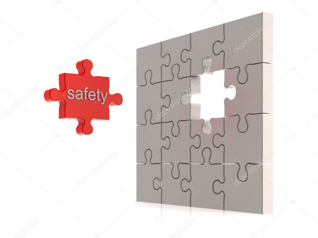 Safety puzzle concept. High quality 3d render  Stock Photo #2119354