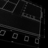 Blueprint on black — Stock Photo
