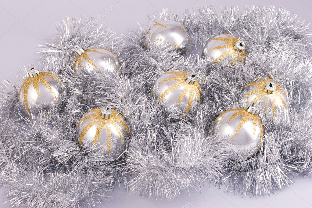 Christmas still life with three silver balls — Stock Photo #1229427